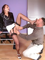 leggy clothed sex in the office
